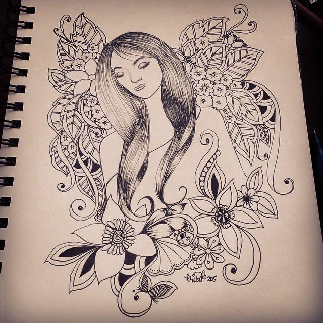 Faces fairy flowers kcdoodleart for Doodle art faces
